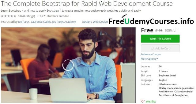 [#Udemy 100% Off] The Complete #Bootstrap for Rapid Web Development Course   About This Course  Published 10/2016English  Course Description  Are you ready to become a Web Developer and enjoy a fascinating high paying career?  Or maybe you just want to le