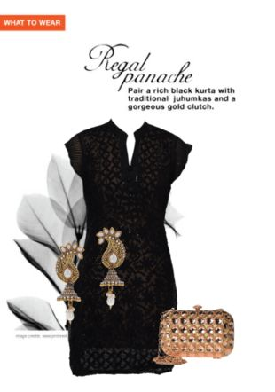 black kurtas, acrylic gold earrings with gold clutches for Rs. 1024/- Shop Now Vhttp://www.limeroad.com/scrap/Black-Kurtas-Acrylic-Gold-Earrings-with-Gold-Clutches-s560d658b2f3efb3397380d70/vip#scrapOverlay