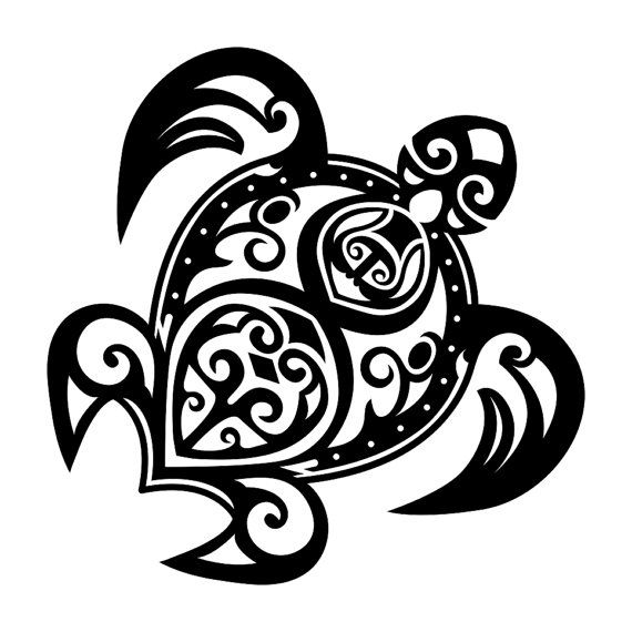 Turtle Tribal Tattoo Graphics Design Svg Dxf By