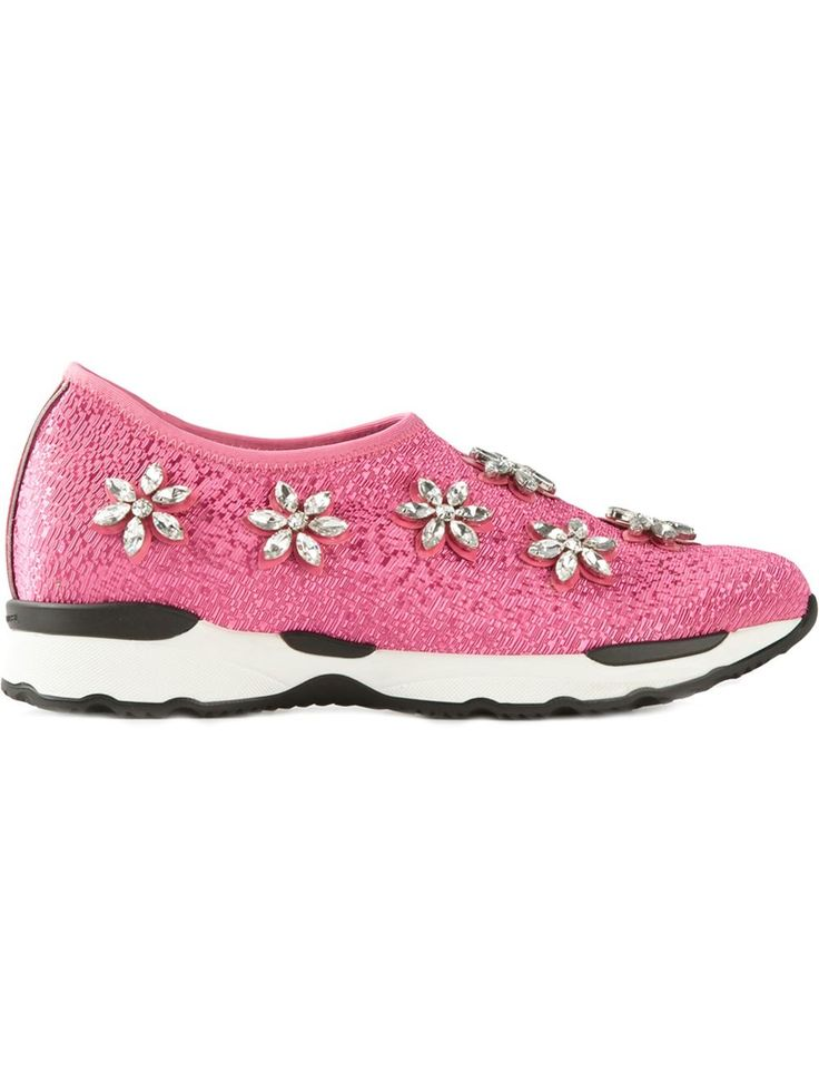 Collection Here Womens Philippe Model Crystal Embellished Sneakers New Style