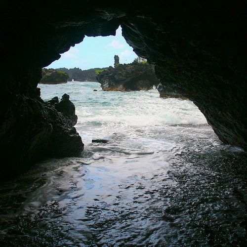 Looking Out From Inside A Lava Tube At Waianapanapa State