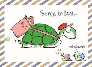 Te laat verjaardagskaart - sorry-te-laat-gefeliciteerd-verjaardag-schildpad