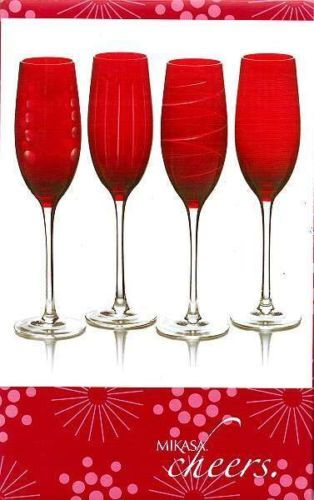 Mikasa Cheers Ruby Red Champagne Flutes Gles Set Of 4 New In Box 44 99