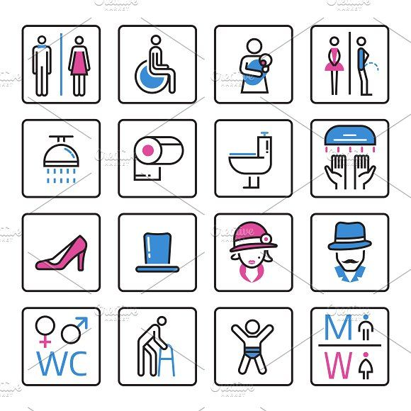 Toilet icons vector by Vectorstockersland on @creativemarket