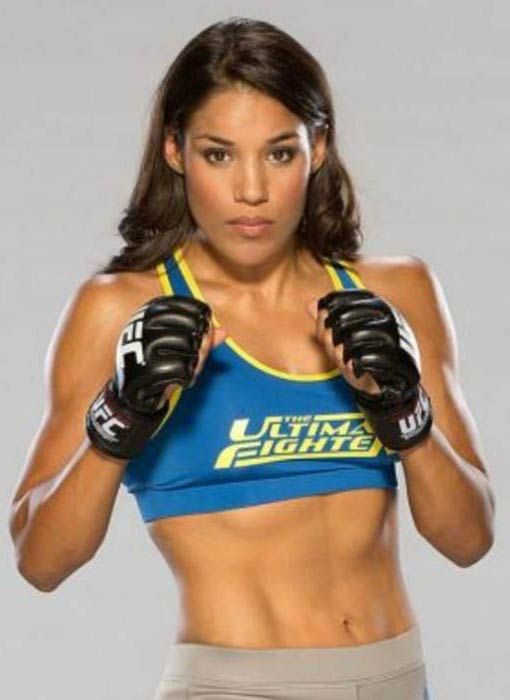 Julianna Pena in a photoshoot for The Ultimate Fighter in 2016...
