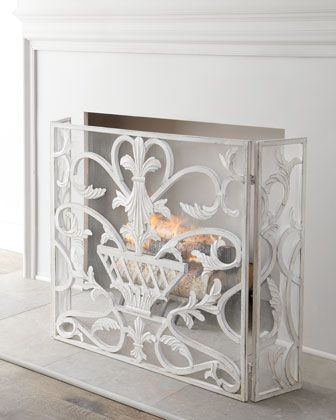 """White Urn"" #FireplaceScreen at #Horchow."