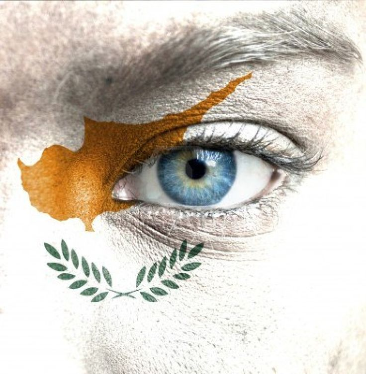 CYPRUS human face painted with flag of cyprus