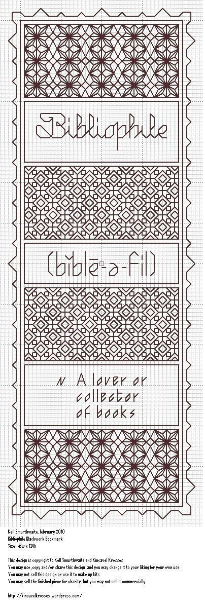 Like star flower pattern on top: Bibliophile Bookmark