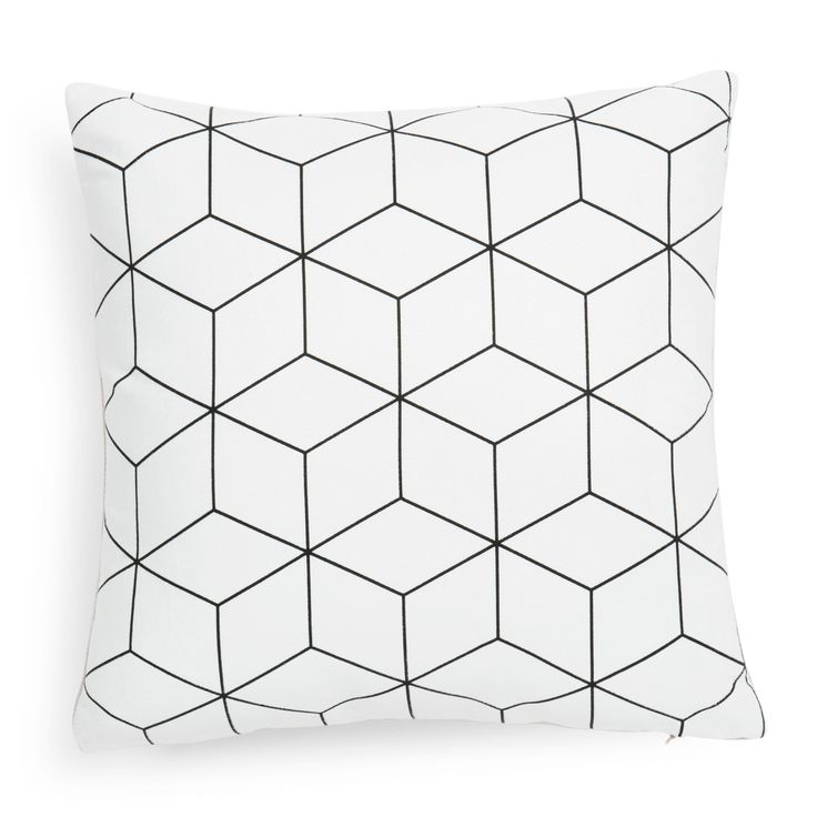 Housse de coussin en tissu blanche 40 x 40 cm CUBO   Maisons du Monde
