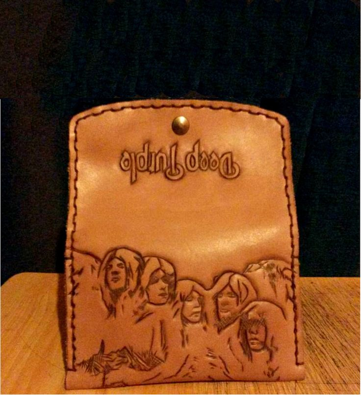 Leather Tobacco Bag with Deep Purple engrave