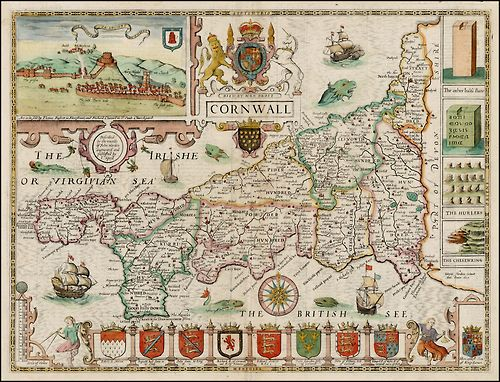 CORNWALL (1676) | John Speed: 'Engraved by Jodocus Hondius, this is one of the most decorative maps of the county - a large Royal crest, 8 armorials, a prospect of Launceston, four antiquities and galleons and sea-monsters fill the space around the peninsula. The English text on verso gives a history of the County and an extensive list of towns and villages.'     ✫ღ⊰n