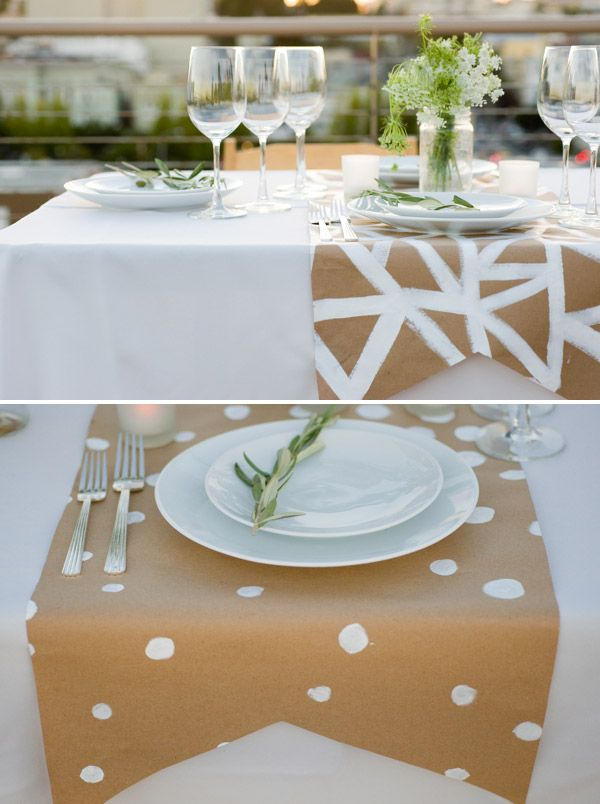 Decor: Using packing paper is an easy,inexpensive way to make a runner for your table. You can paint a design or just leave plain for a more rustic feel.