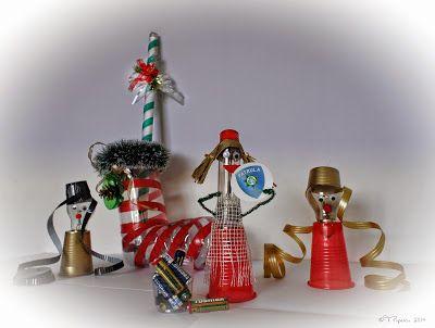 Saint Nicholas Scene -made from bulbs, neon lamp, plastic bottles, plastic cups and caps, batteries, etc.