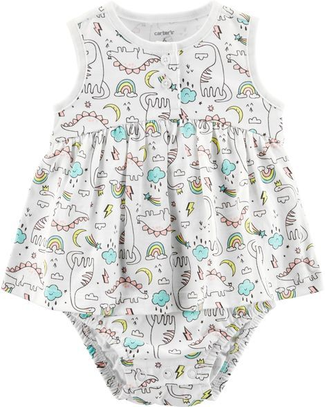 4aaea3465 Baby Girl Dinosaur Jersey Sunsuit from Carters.com. Shop clothing &  accessories from a trusted name in kids, toddlers, and baby clothes.