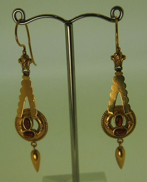 9 Carat Gold Antique Drop Hook Earrings with Garnets A Lovely art nouveau design that looks just fabulous on the ears!Guaranteed and tested for Solid 9 carat Go