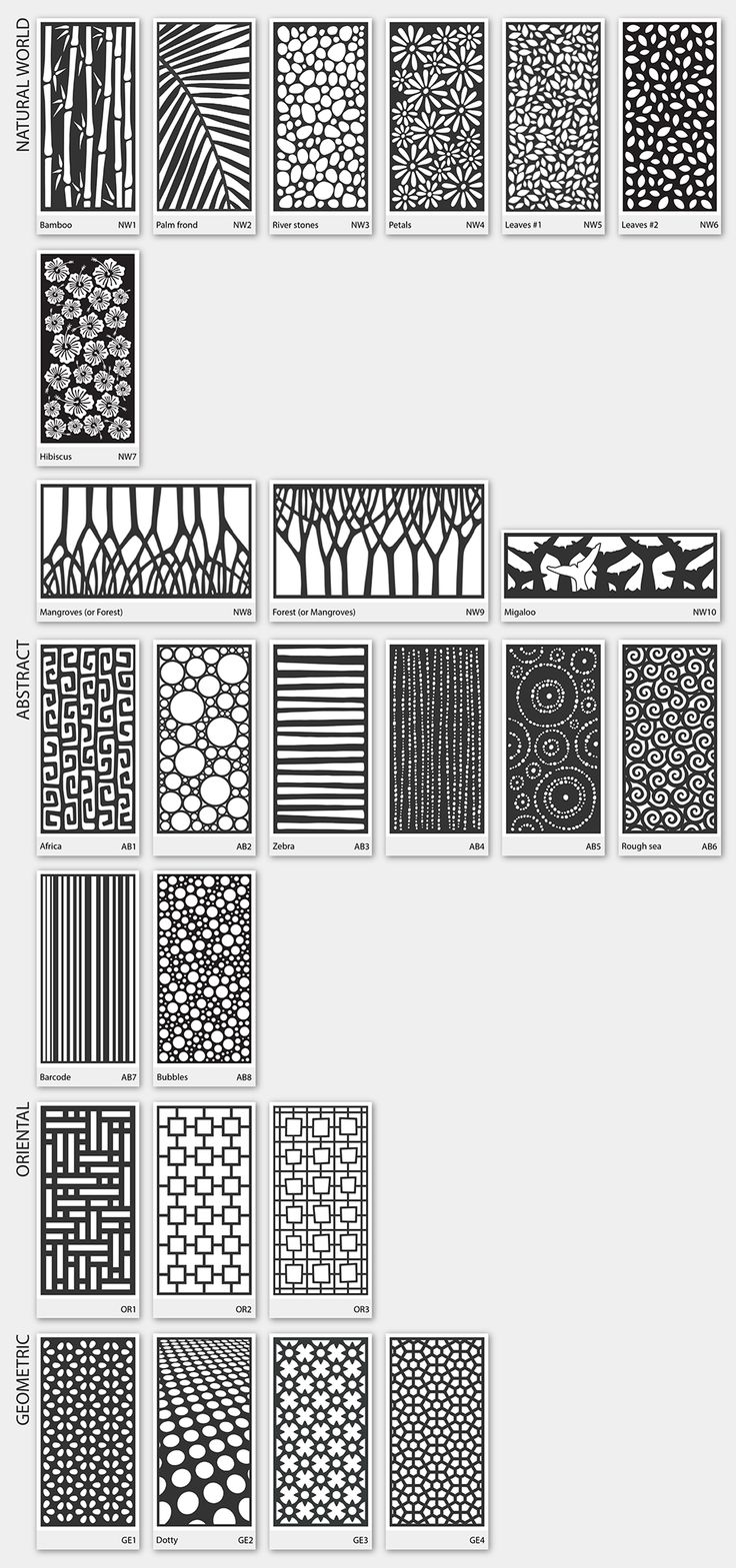 Some patterns LASER-CUT METAL SCREENS