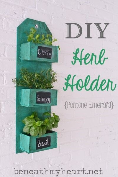 DIY Herb Holder {Pantone Emerald}   Beneath My Heart