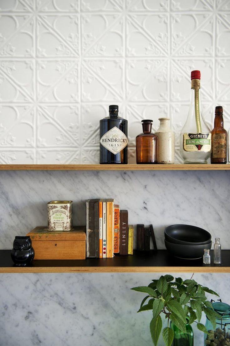 25 best ideas about tin tiles on pinterest cheap wall for Cheap kitchen splashback ideas