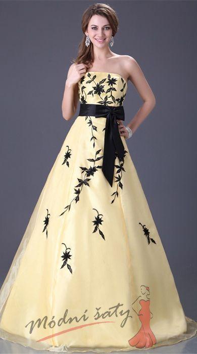 Žluté plesové šaty s černou výšivkou