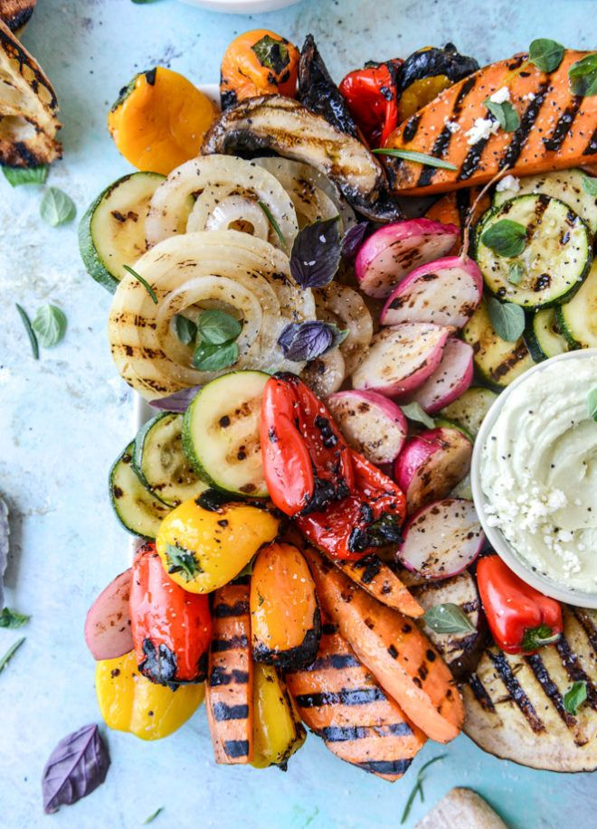 Marinated grilled vegetables with avocado whipped feta (marinate in soy sauce, brown sugar, garlic, paprika for 30 min)
