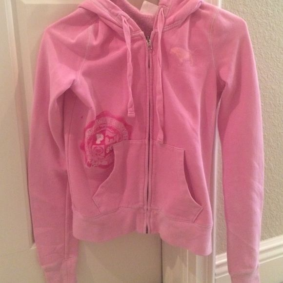 Pink zip up hoodie Pink zip up hoodie with details on front n back. No stains or holes PINK Victoria's Secret Jackets & Coats