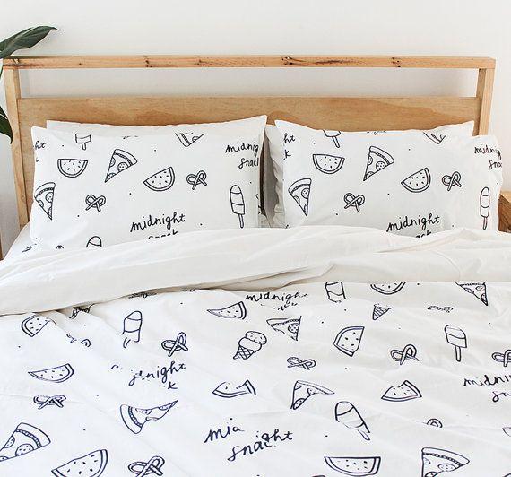 Midnight Snack couette housse - Single, trois quart, Queen & King 100 % coton linge de lit