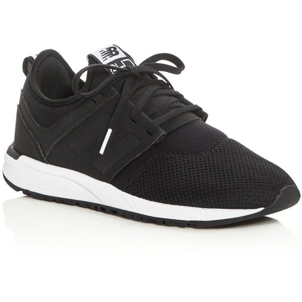 New Balance Women's 247 Classic Lace Up Sneakers (1.061.335 IDR) ❤ liked on Polyvore featuring shoes, sneakers, black, new balance footwear, laced shoes, lace up shoes, laced sneakers and black laced shoes