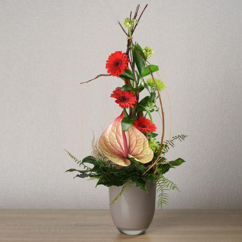 Blumenstrauß mit exotischer Anthurie und feuerroten Germini.