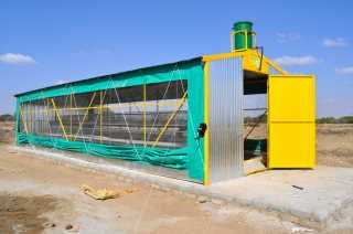 Yellow door chicken house for small poultry farmers - sponsored with a government loan - broiler farming,