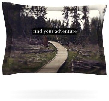 """Leah Flores """"Find Your Adventure"""" Nature Quote Pillow Sham (Woven, 40"""" x 20"""") contemporary-pillowcases-and-shams"""