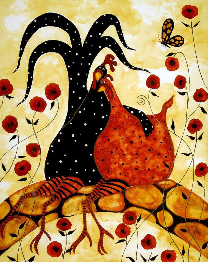 Hubbs Folk Art Prints Lunático Farm Animals Aves Frango Galo da Pintura da Papoila Floral - Hubbs Folk Art Prints Lunaticos Farm Animals ave ...