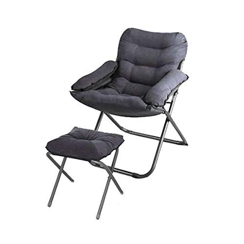 ZHILIAN Grey Lazy Couch Folding Chair with Footrest Lounge ...