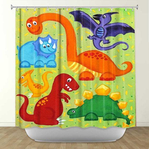 Dinosaur Kids Shower Curtain Bathroom Decor Boys Childrens Decor Kids Shower Curtain Dinosaur Theme Room