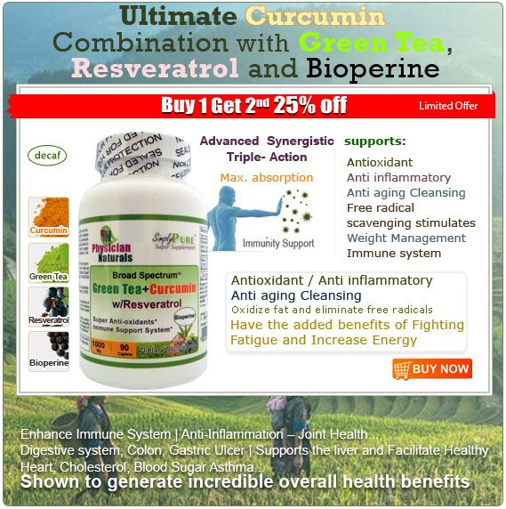 Buy 1 get 2nd 25% off – offer starts on 12 April 2017 Limited offer.. SimplyPure Broad Spectrum Green Tea with Curcumin now with Resveratrol and Bioperine…  De-caff Green tea  Advanced Syndergistic Triple Action super supplement for Maximum absorption with Curcumin-Green Tea-Resveratrol…  Green Tea Promotes increased metabolism and fat oxidation Immune system Help Stimulate Immune system Help Normalizes healthy bacteria in the intestines Manages blood pressure & the circulatory system…