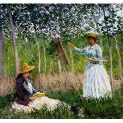 """Репродукция картины Клода Моне """"In The Woods At Giverny Blanche Hoschede Monet At Her Easel With Suzzanne Hoschede Reading"""" 1887 (CMN-4152)"""