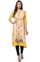 Yellow Color Crepe Readymade Party Wear Kurtis ( Sizes-36,38,40,42,44): Parinisha Collection YF-63499