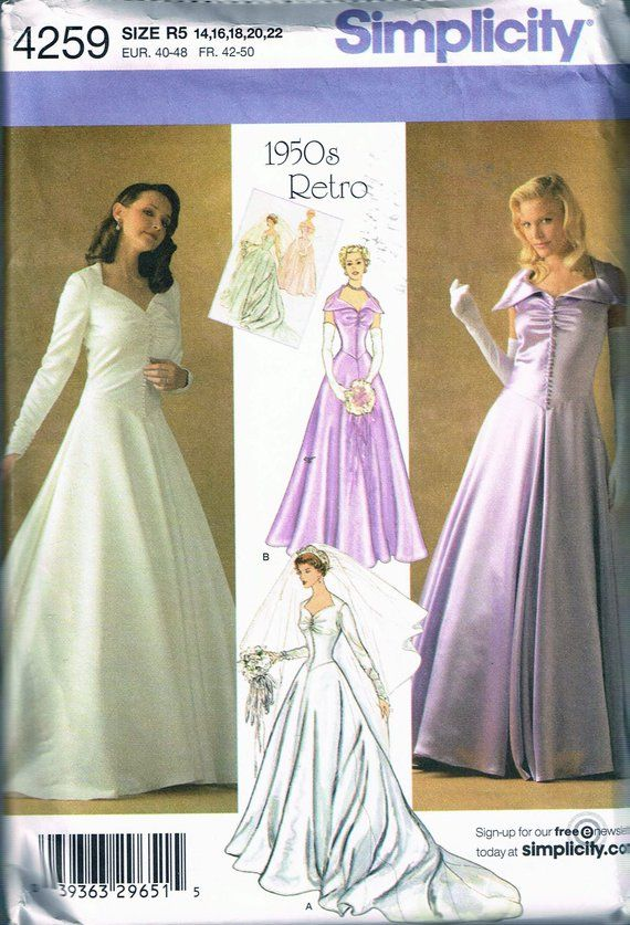 Boat Neck Wedding Dress Gown Train Bridesmaid Sewing Pattern Plus 14 16 18 20 22