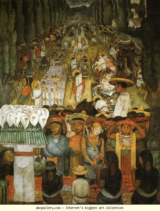 Diego Rivera. From the cycle: Political Vision  of the Mexican People (Court of Fiestas): Good Friday on the Santa Anita  Canal. / Viernes de dolores en el canal de Santa Anita.