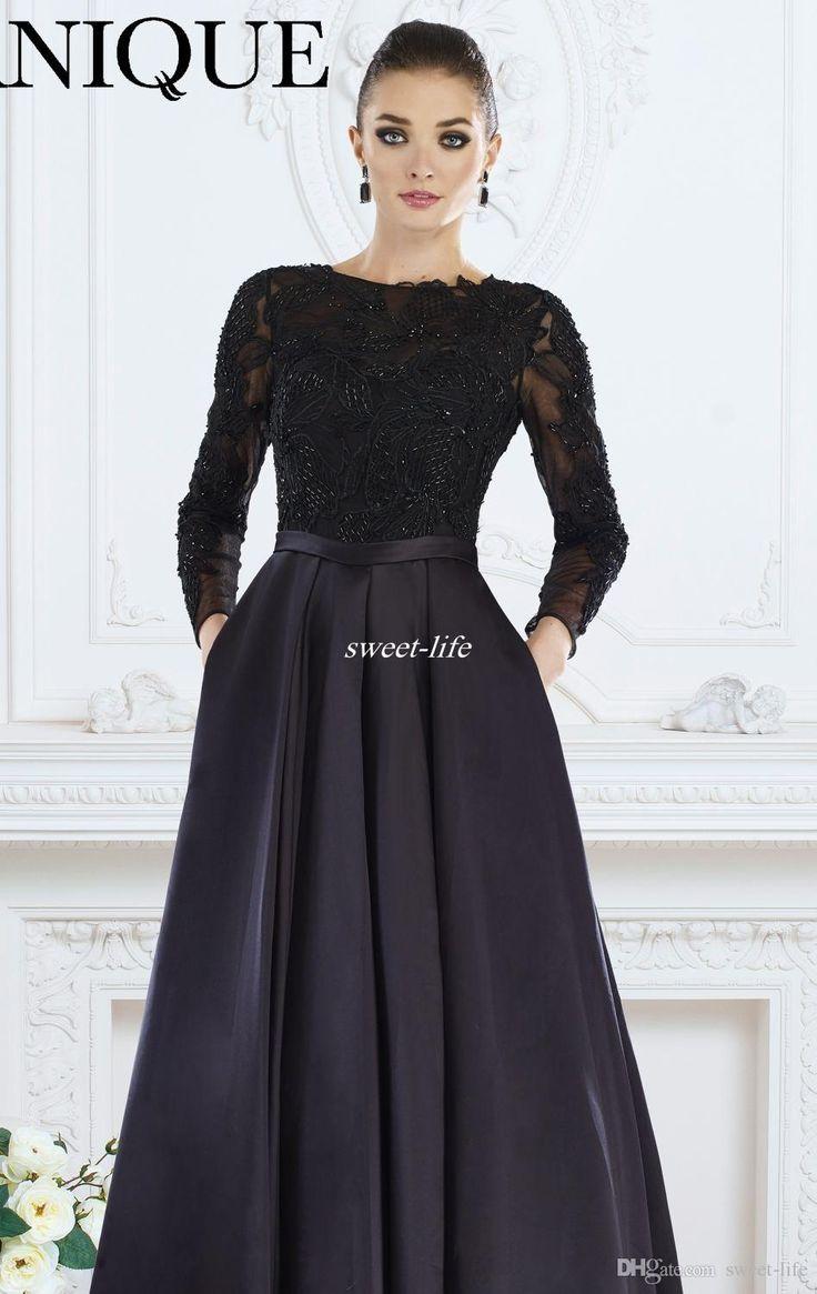 Elegant Mother of the Bride Dresses with Pockets Beading Bateau Neck A-Line Satin Ruffles Sash Custom Made 2016 Long Sleeve Evening Dresses