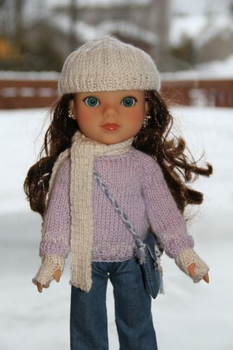 Free Knitting Pattern For Doll Hat : Cardigan, hat, scarf and mitts for Dell- free knitting pattern Hearts for H...