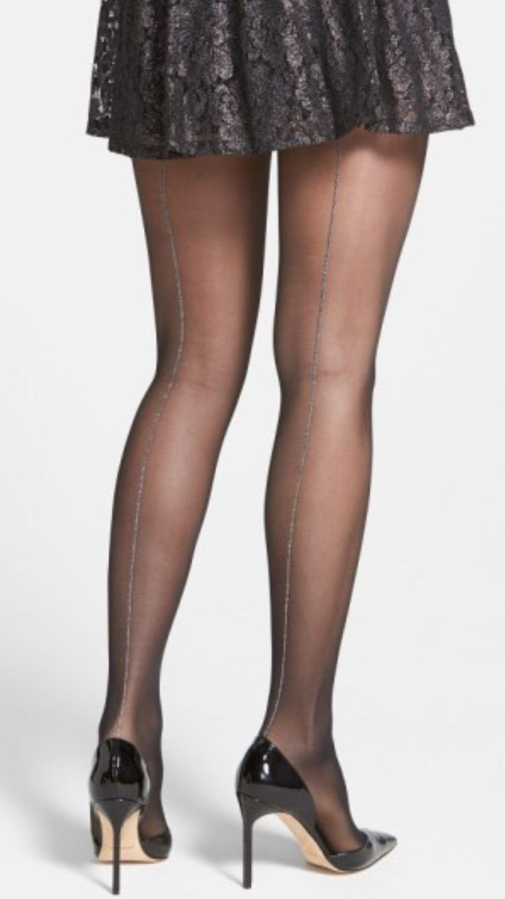 Oroblu Riga Tights - Oroblu Riga Tights Sheer black tights get a festive upgrade with a glittering metallic strand tracing the backs. #tights #pantyhose #hosiery #nylons #tightslover #pantyhoselover #nylonlover #legs