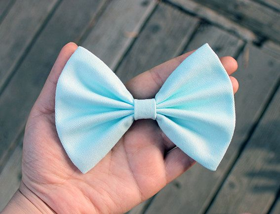 4.5 light mint hair bow clip pastel blue hair bow by TwinkleMingle