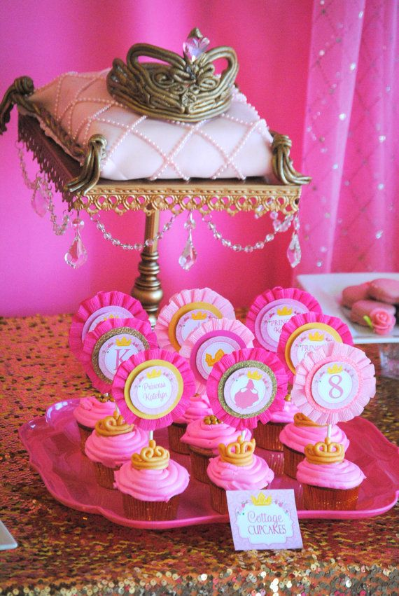 SLEEPING BEAUTY Party - Cupcake Toppers - Party Printables - Princess Party - Aurora Inspired - Girls Birthday Party - Ladies Shower on Etsy, $3.99