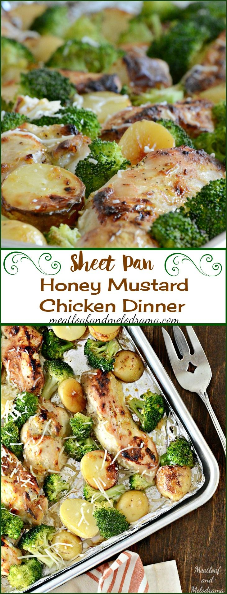 Sheet Pan Honey Mustard Chicken Dinner with Broccolie and Potatoes