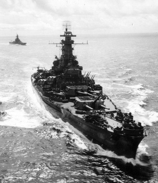 Battleships USS South Dakota (BB-57) followed by USS Alabama (BB-60) on their way to the Marshall's to shell Roi and Namur islands on 1 February 1944.