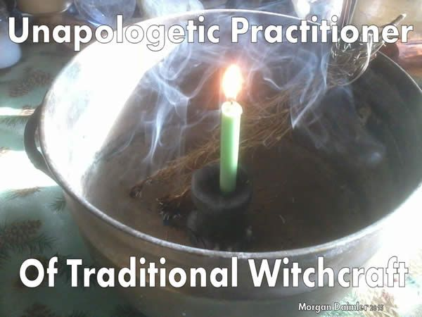 """A candle in a cauldron with burning incense between the words """"Unappologetic Practitioner of Traditional Witchcraft"""""""