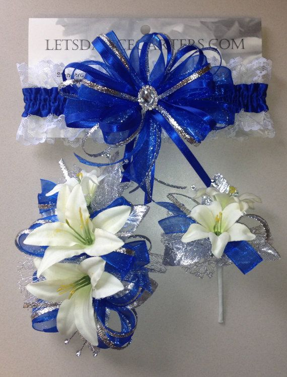 Royal Blue Silver Prom Garter n Lily Wrist by FlorescenceByDesign, $46.95