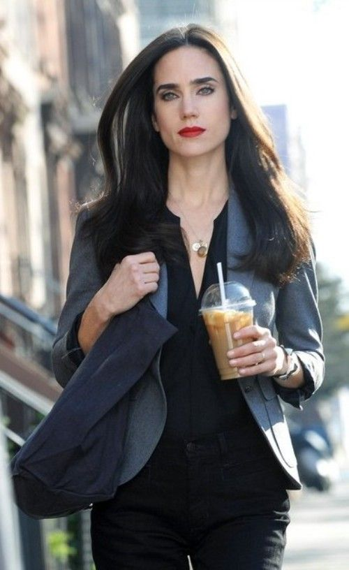 Jennifer Connelly models a great work outfit. The dark neutrals counter balance the bold lip color.