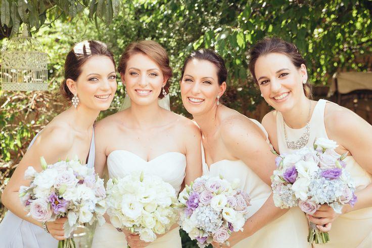 Bridesmaids Zimmermann dresses, purple, blue and ivory
