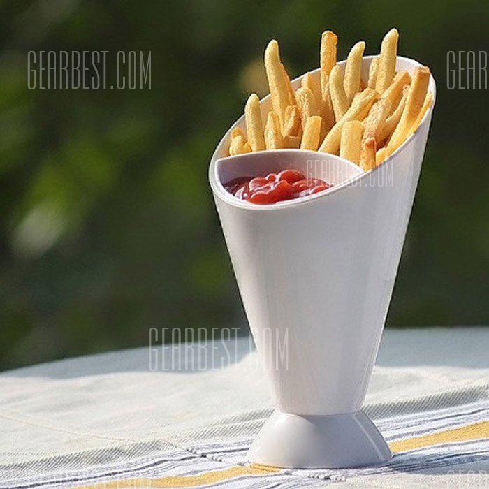 French Fry Cone Dipping Cup 2 in 1 Ice Water Mug #fastfood #dip #bowl #cup